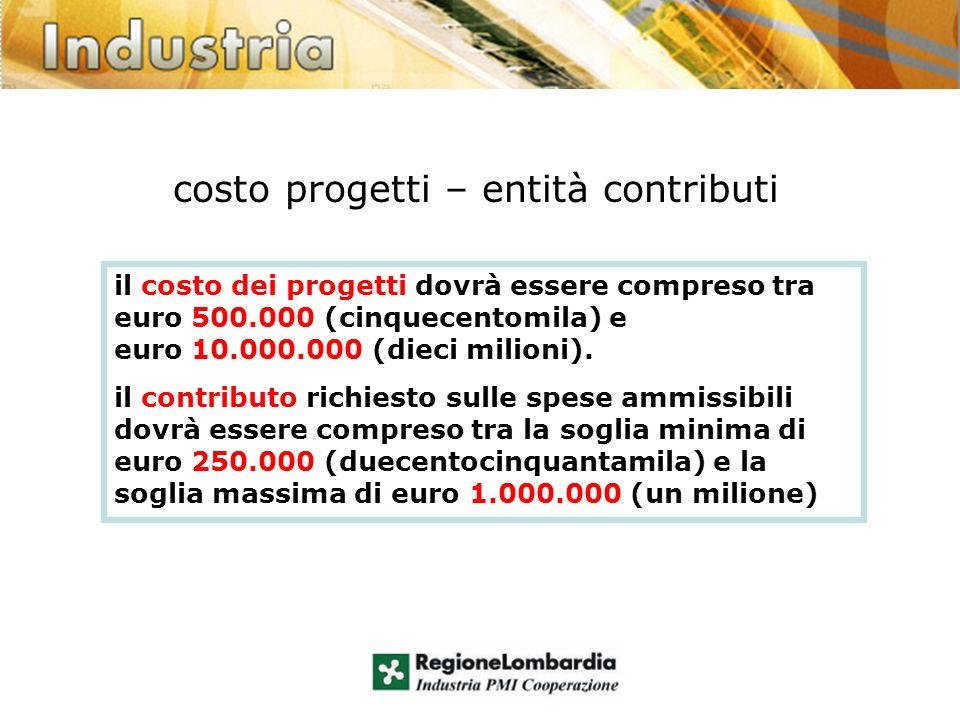 costo progetti – entità contributi il costo dei progetti dovrà essere compreso tra euro 500.000 (cinquecentomila) e euro 10.000.000 (dieci milioni).