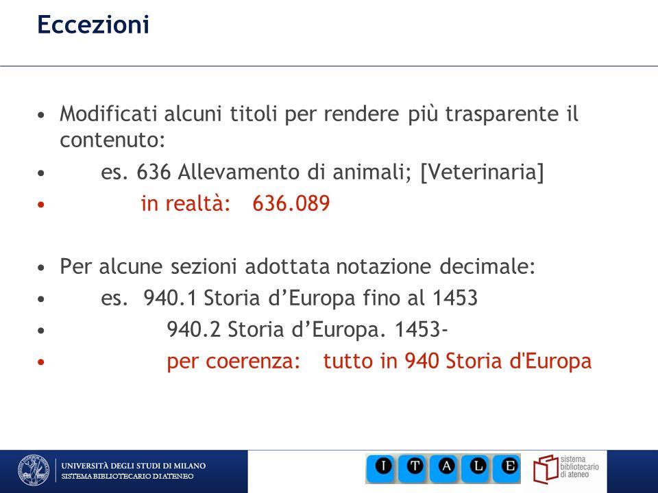 SISTEMA BIBLIOTECARIO DI ATENEO Eccezioni Modificati alcuni titoli per rendere più trasparente il contenuto: es. 636 Allevamento di animali; [Veterina