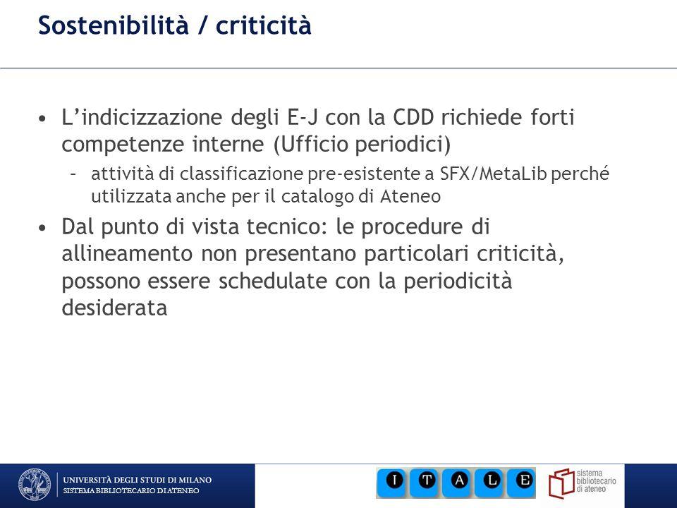 SISTEMA BIBLIOTECARIO DI ATENEO Sostenibilità / criticità Lindicizzazione degli E-J con la CDD richiede forti competenze interne (Ufficio periodici) –