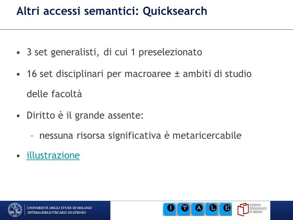 SISTEMA BIBLIOTECARIO DI ATENEO Altri accessi semantici: Quicksearch 3 set generalisti, di cui 1 preselezionato 16 set disciplinari per macroaree ± am