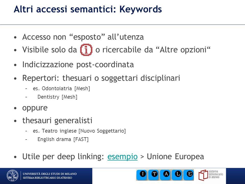 SISTEMA BIBLIOTECARIO DI ATENEO Altri accessi semantici: Keywords Accesso non esposto allutenza Visibile solo da o ricercabile da Altre opzioni Indici