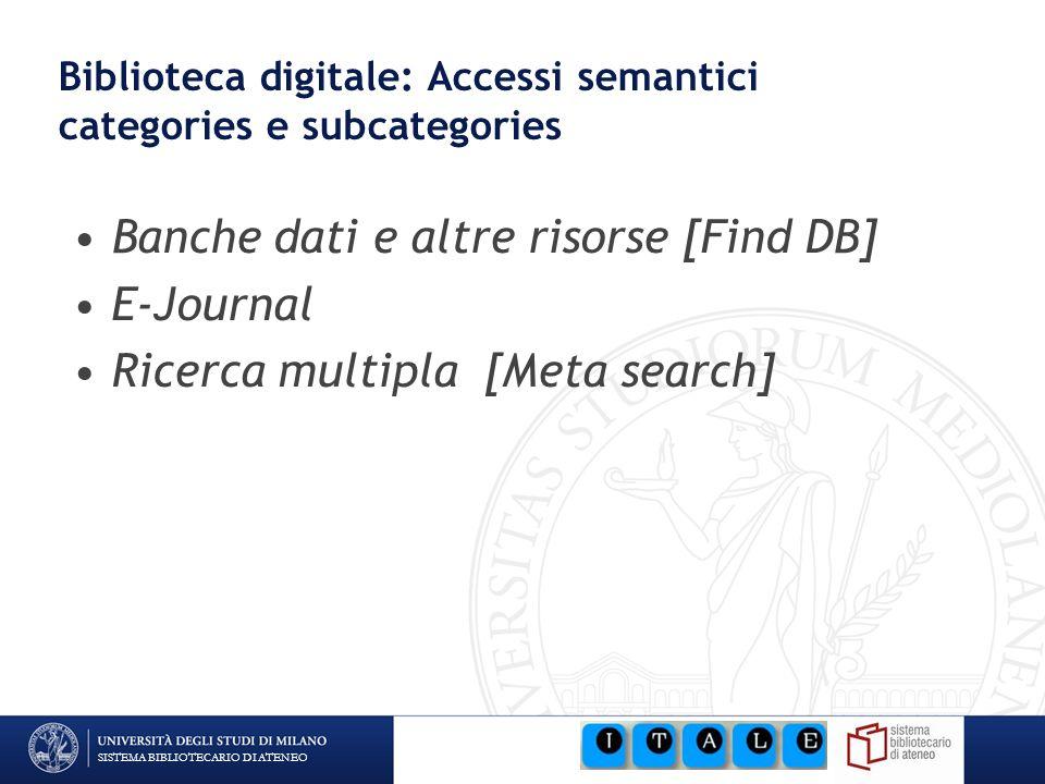 SISTEMA BIBLIOTECARIO DI ATENEO Biblioteca digitale: Accessi semantici categories e subcategories Banche dati e altre risorse [Find DB] E-Journal Rice