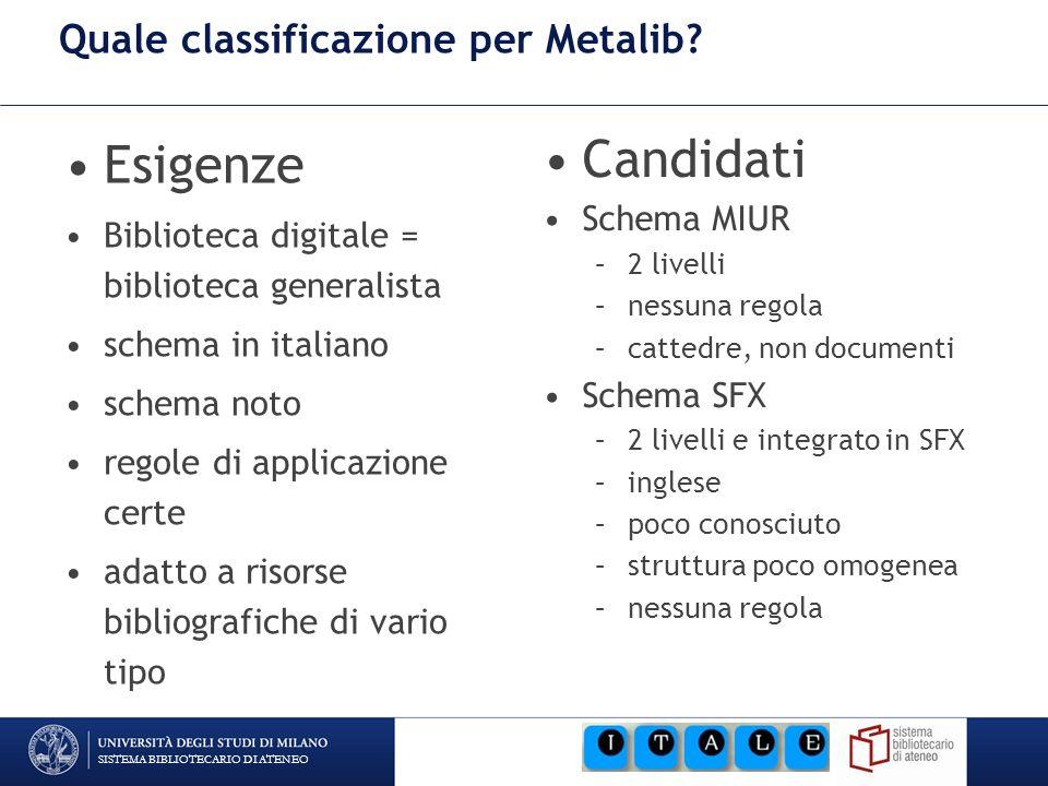 SISTEMA BIBLIOTECARIO DI ATENEO Quale classificazione per Metalib? Esigenze Biblioteca digitale = biblioteca generalista schema in italiano schema not