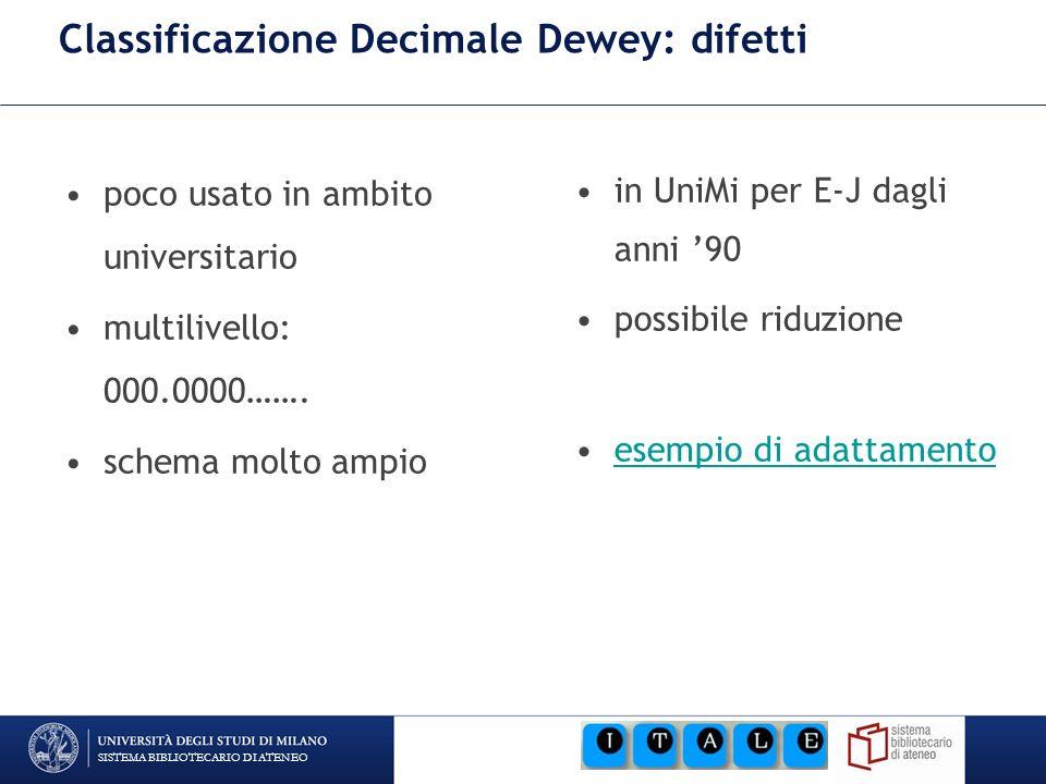 SISTEMA BIBLIOTECARIO DI ATENEO Classificazione Decimale Dewey: difetti poco usato in ambito universitario multilivello: 000.0000……. schema molto ampi