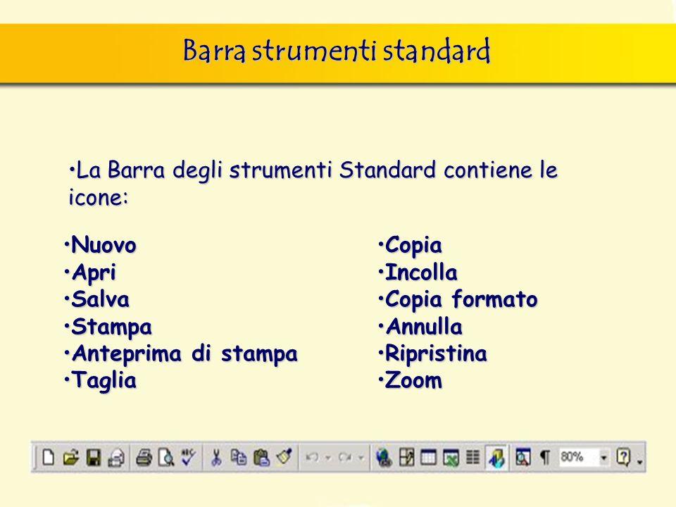 Barra strumenti standard finestra di dialogo Nuovo, nella quale si può scegliere sia il documento vuoto, sia un altro documento tipo, da scegliere tra i modelli forniti con il programma.