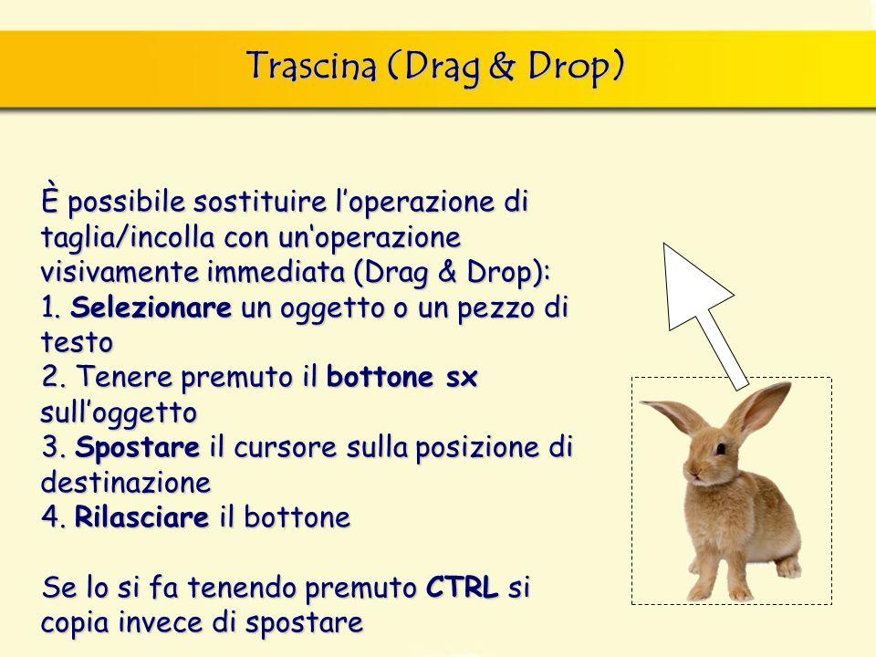 È possibile sostituire loperazione di taglia/incolla con unoperazione visivamente immediata (Drag & Drop): 1.