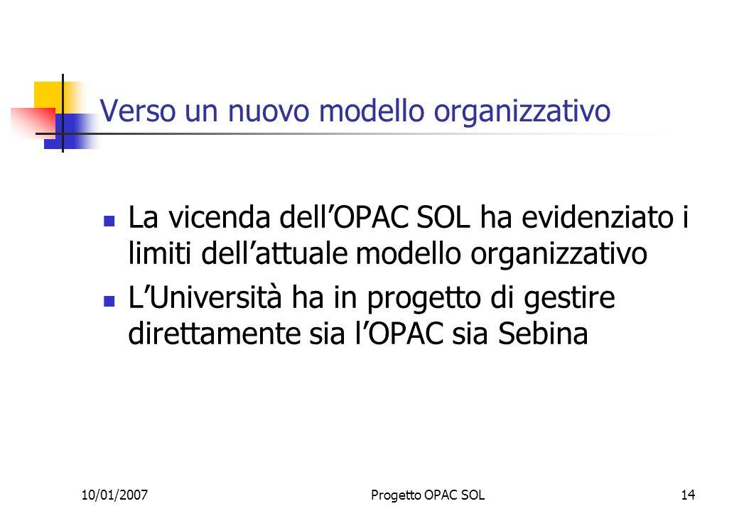 10/01/2007Progetto OPAC SOL14 Verso un nuovo modello organizzativo La vicenda dellOPAC SOL ha evidenziato i limiti dellattuale modello organizzativo LUniversità ha in progetto di gestire direttamente sia lOPAC sia Sebina