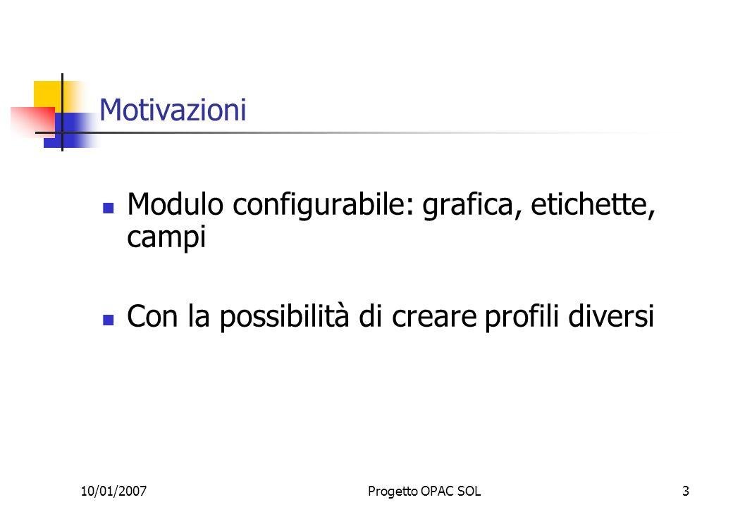 10/01/2007Progetto OPAC SOL3 Motivazioni Modulo configurabile: grafica, etichette, campi Con la possibilità di creare profili diversi