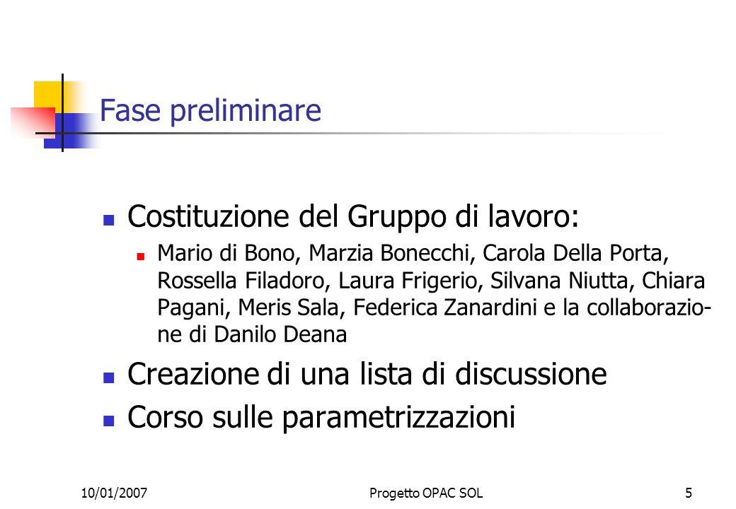 10/01/2007Progetto OPAC SOL5 Fase preliminare Costituzione del Gruppo di lavoro: Mario di Bono, Marzia Bonecchi, Carola Della Porta, Rossella Filadoro