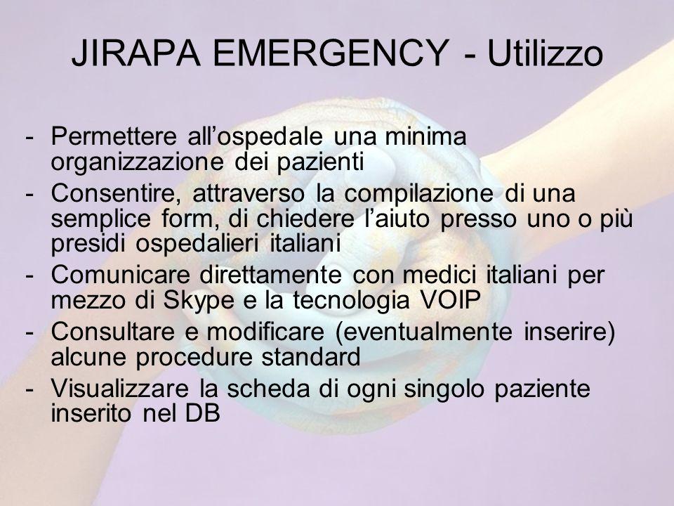 JIRAPA EMERGENCY - Utilizzo -Permettere allospedale una minima organizzazione dei pazienti -Consentire, attraverso la compilazione di una semplice form, di chiedere laiuto presso uno o più presidi ospedalieri italiani -Comunicare direttamente con medici italiani per mezzo di Skype e la tecnologia VOIP -Consultare e modificare (eventualmente inserire) alcune procedure standard -Visualizzare la scheda di ogni singolo paziente inserito nel DB