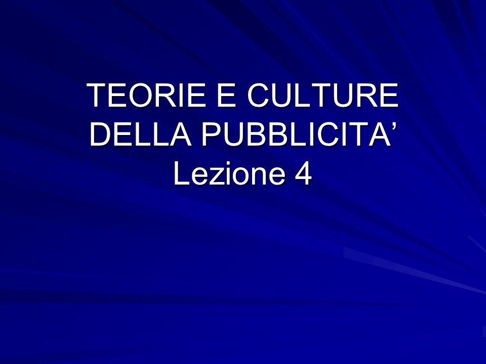 TEORIE E CULTURE DELLA PUBBLICITA Lezione 4