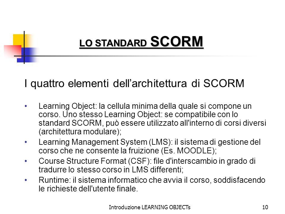Introduzione LEARNING OBJECTs10 I quattro elementi dellarchitettura di SCORM Learning Object: la cellula minima della quale si compone un corso. Uno s