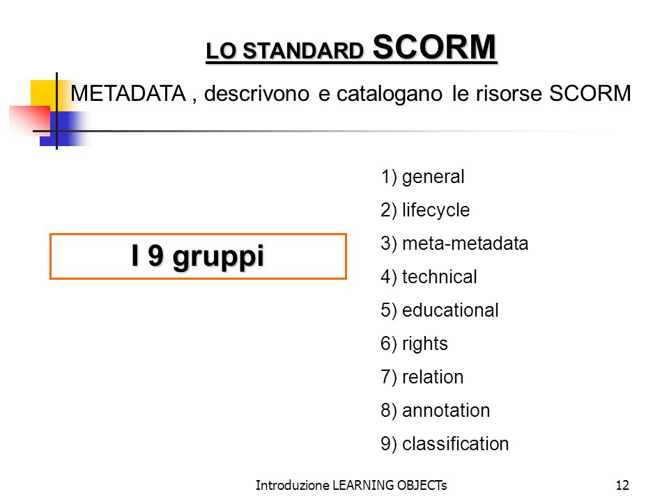 Introduzione LEARNING OBJECTs12 1) general 2) lifecycle 3) meta-metadata 4) technical 5) educational 6) rights 7) relation 8) annotation 9) classifica