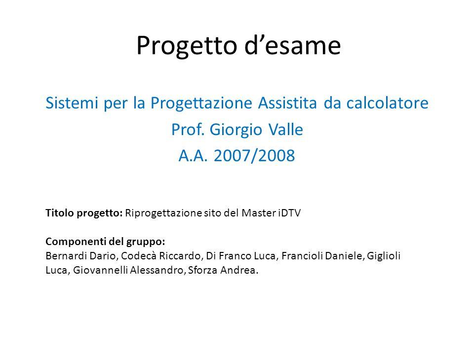 Progetto desame Sistemi per la Progettazione Assistita da calcolatore Prof.