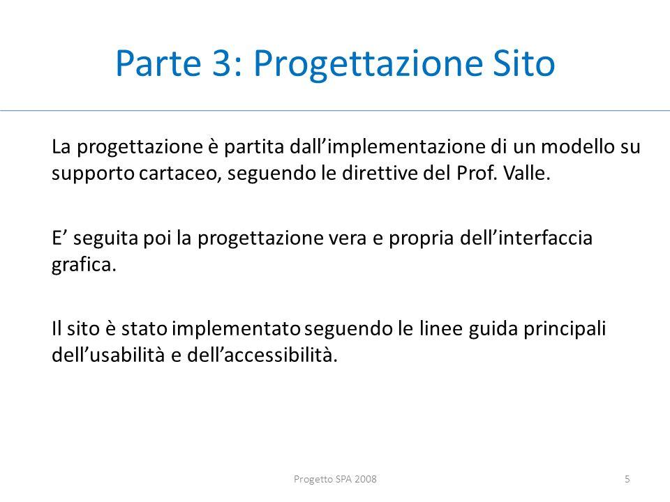 Parte 3: Progettazione Sito La progettazione è partita dallimplementazione di un modello su supporto cartaceo, seguendo le direttive del Prof.