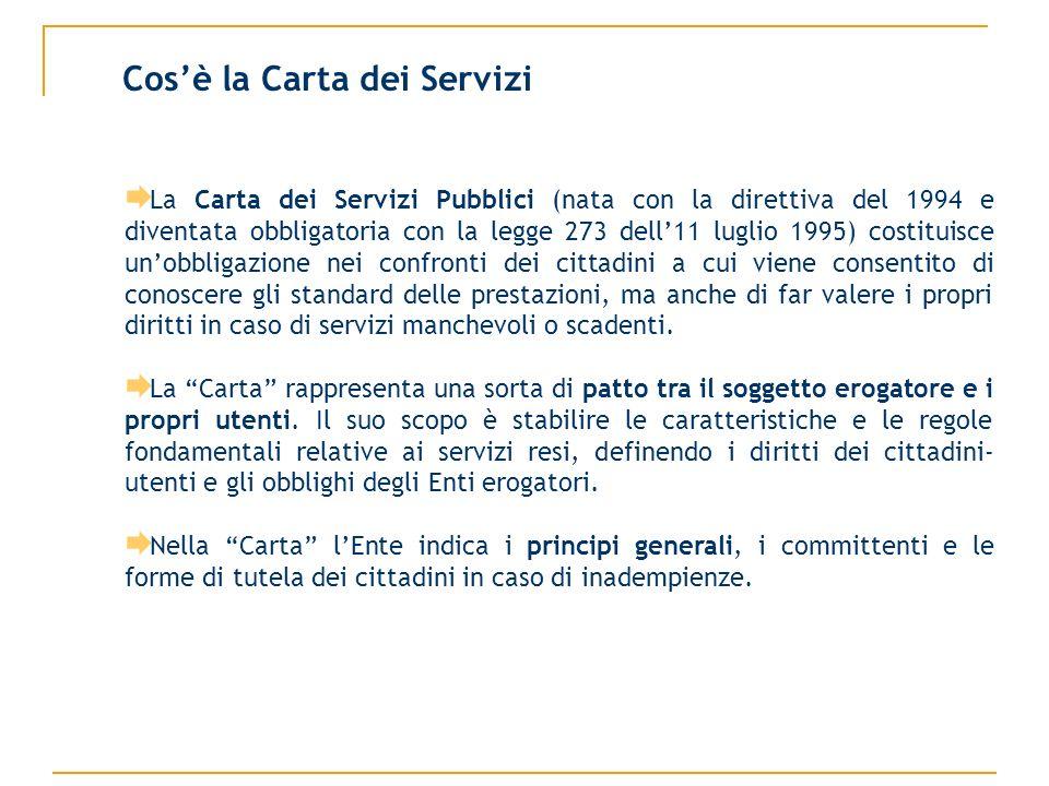 Cosè la Carta dei Servizi La Carta dei Servizi Pubblici (nata con la direttiva del 1994 e diventata obbligatoria con la legge 273 dell11 luglio 1995)