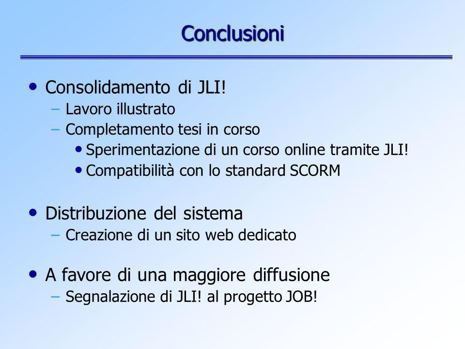 Consolidamento di JLI! –Lavoro illustrato –Completamento tesi in corso Sperimentazione di un corso online tramite JLI! Compatibilità con lo standard S