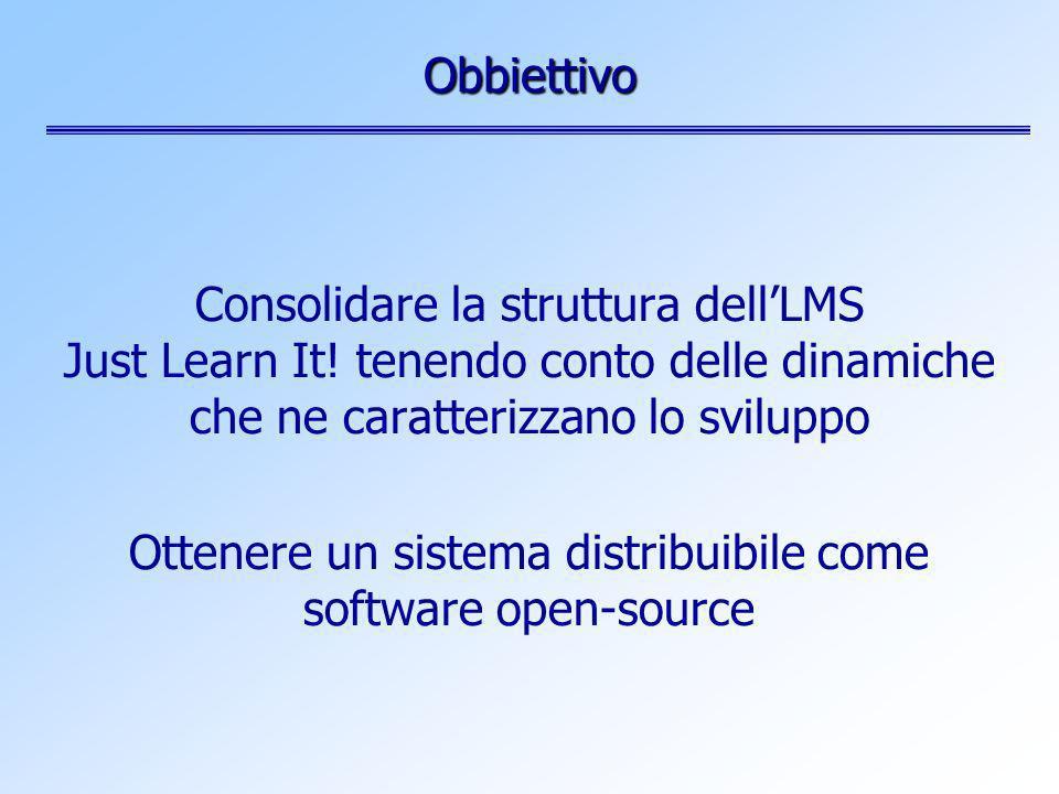 Obbiettivo Consolidare la struttura dellLMS Just Learn It! tenendo conto delle dinamiche che ne caratterizzano lo sviluppo Ottenere un sistema distrib