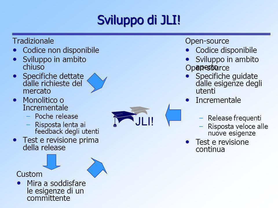 Sviluppo di JLI! Tradizionale Codice non disponibile Sviluppo in ambito chiuso Specifiche dettate dalle richieste del mercato Monolitico o Incremental