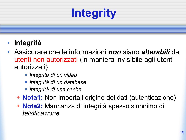 17 Confidentiality (2) Privacy = diritto di segretezza La password di laboratorio è confidenziale, non privata La democrazia si basa sulla privacy Il