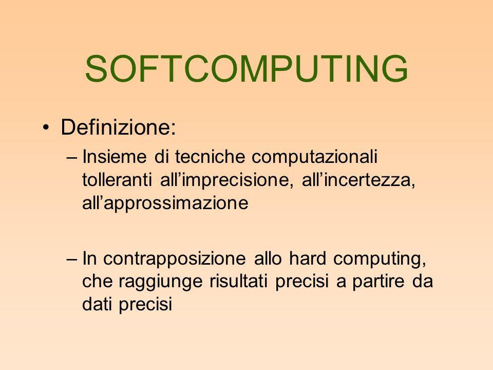 Definizione: –Insieme di tecniche computazionali tolleranti allimprecisione, allincertezza, allapprossimazione –In contrapposizione allo hard computing, che raggiunge risultati precisi a partire da dati precisi
