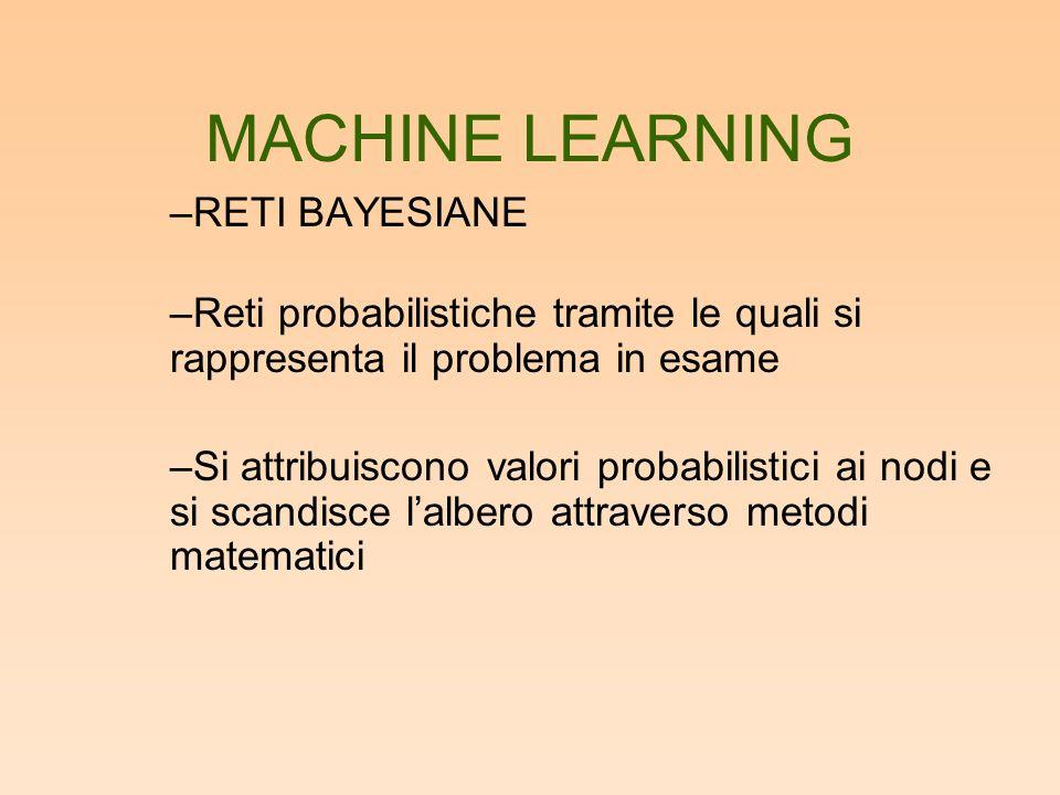MACHINE LEARNING –RETI BAYESIANE –Reti probabilistiche tramite le quali si rappresenta il problema in esame –Si attribuiscono valori probabilistici ai nodi e si scandisce lalbero attraverso metodi matematici