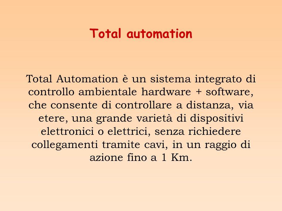Total automation Total Automation è un sistema integrato di controllo ambientale hardware + software, che consente di controllare a distanza, via etere, una grande varietà di dispositivi elettronici o elettrici, senza richiedere collegamenti tramite cavi, in un raggio di azione fino a 1 Km.