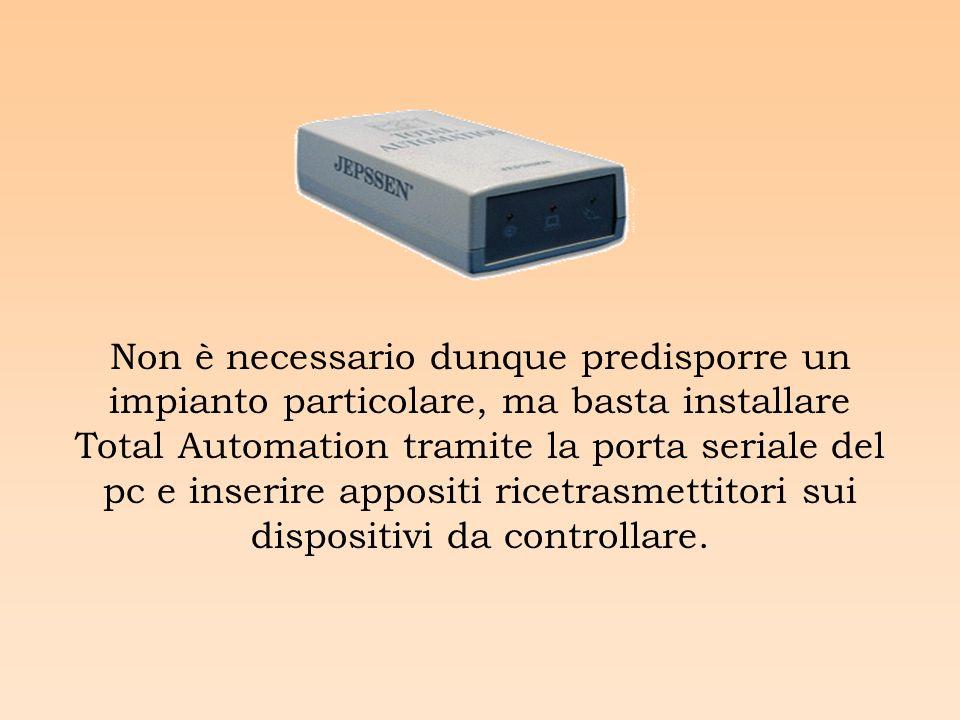 Non è necessario dunque predisporre un impianto particolare, ma basta installare Total Automation tramite la porta seriale del pc e inserire appositi ricetrasmettitori sui dispositivi da controllare.