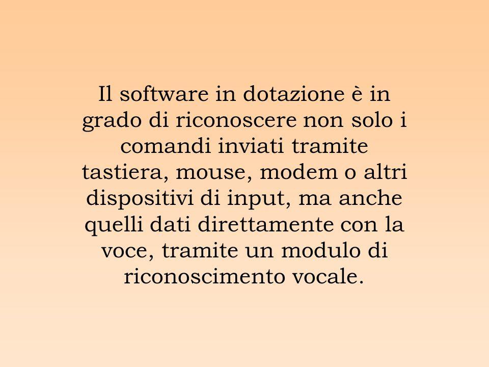 Il software in dotazione è in grado di riconoscere non solo i comandi inviati tramite tastiera, mouse, modem o altri dispositivi di input, ma anche quelli dati direttamente con la voce, tramite un modulo di riconoscimento vocale.
