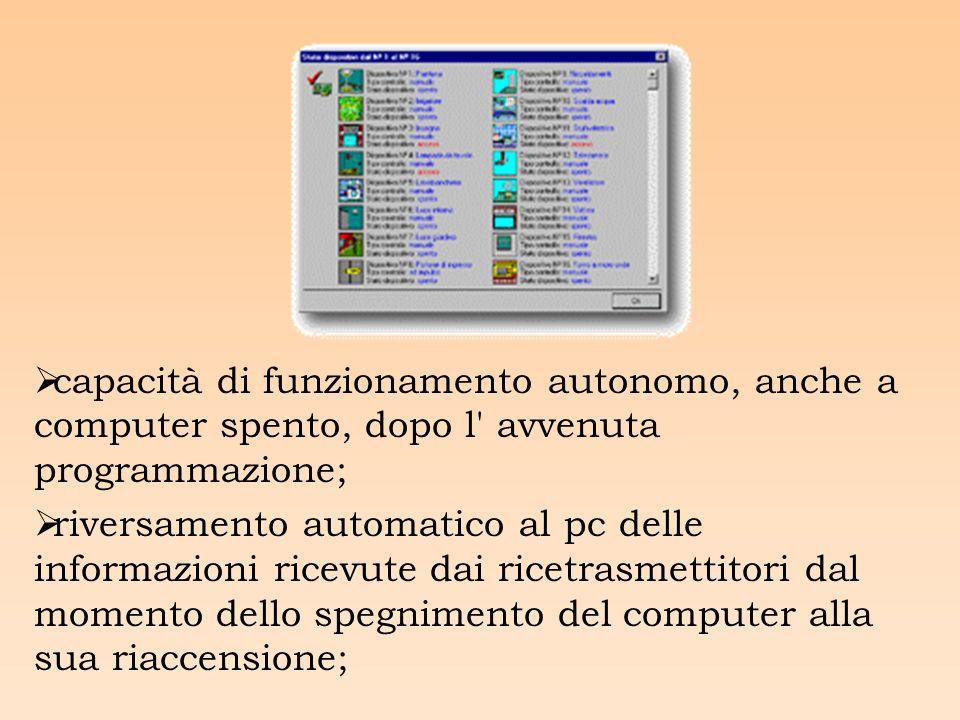 capacità di funzionamento autonomo, anche a computer spento, dopo l avvenuta programmazione; riversamento automatico al pc delle informazioni ricevute dai ricetrasmettitori dal momento dello spegnimento del computer alla sua riaccensione;
