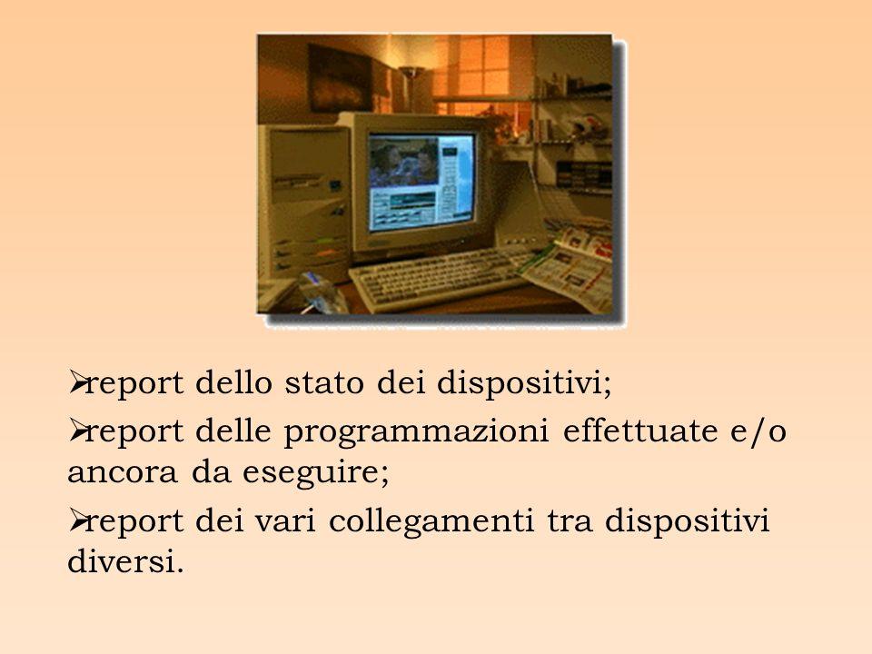 report dello stato dei dispositivi; report delle programmazioni effettuate e/o ancora da eseguire; report dei vari collegamenti tra dispositivi diversi.