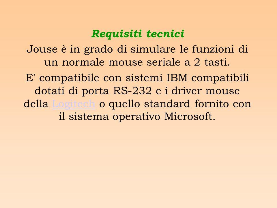 Requisiti tecnici Jouse è in grado di simulare le funzioni di un normale mouse seriale a 2 tasti.