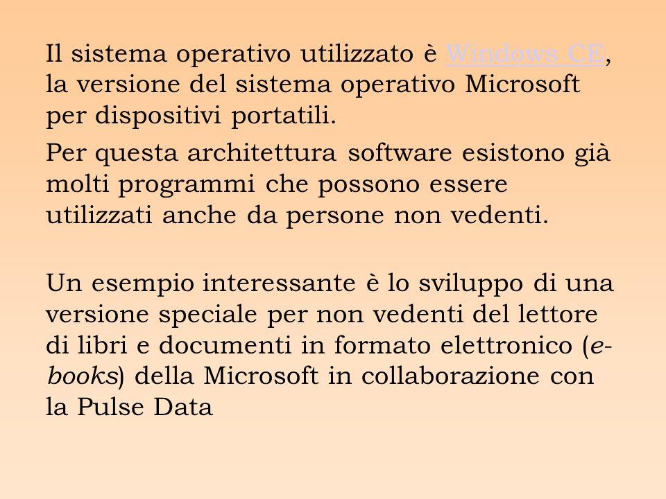 Il sistema operativo utilizzato è Windows CE, la versione del sistema operativo Microsoft per dispositivi portatili.Windows CE Per questa architettura software esistono già molti programmi che possono essere utilizzati anche da persone non vedenti.