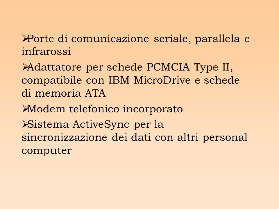 Porte di comunicazione seriale, parallela e infrarossi Adattatore per schede PCMCIA Type II, compatibile con IBM MicroDrive e schede di memoria ATA Modem telefonico incorporato Sistema ActiveSync per la sincronizzazione dei dati con altri personal computer