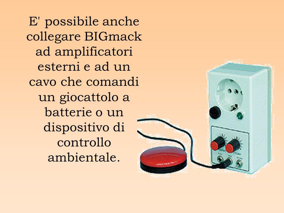 E possibile anche collegare BIGmack ad amplificatori esterni e ad un cavo che comandi un giocattolo a batterie o un dispositivo di controllo ambientale.