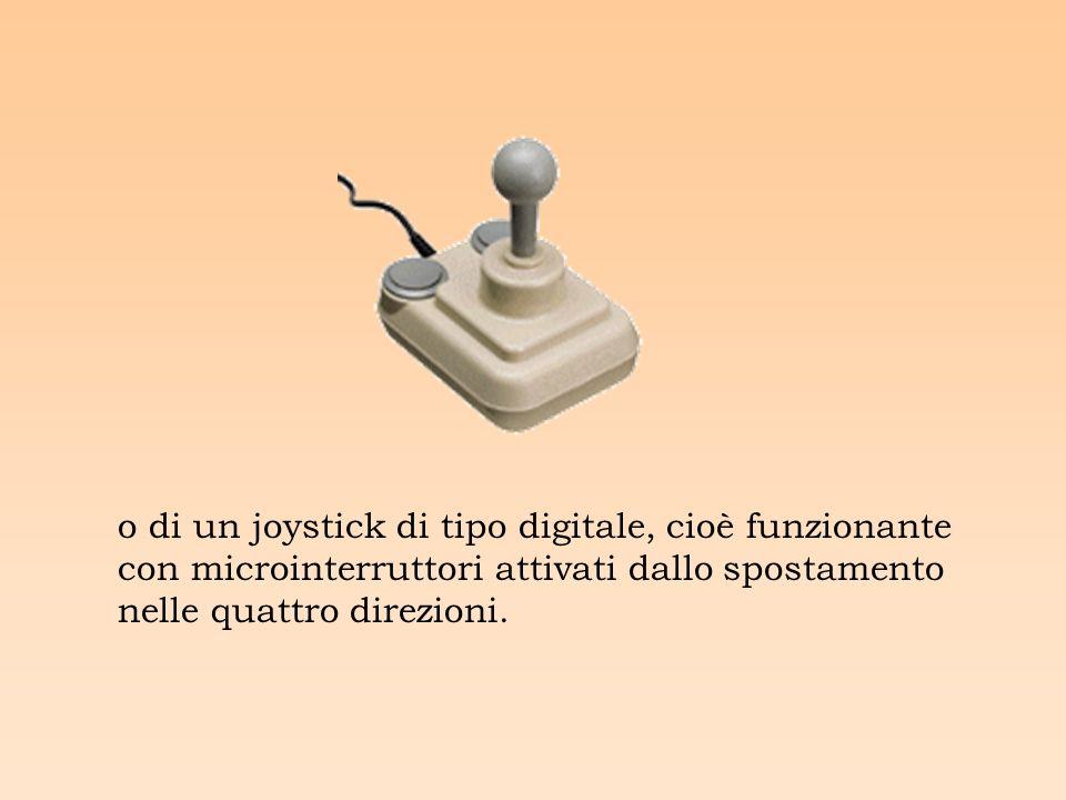 o di un joystick di tipo digitale, cioè funzionante con microinterruttori attivati dallo spostamento nelle quattro direzioni.
