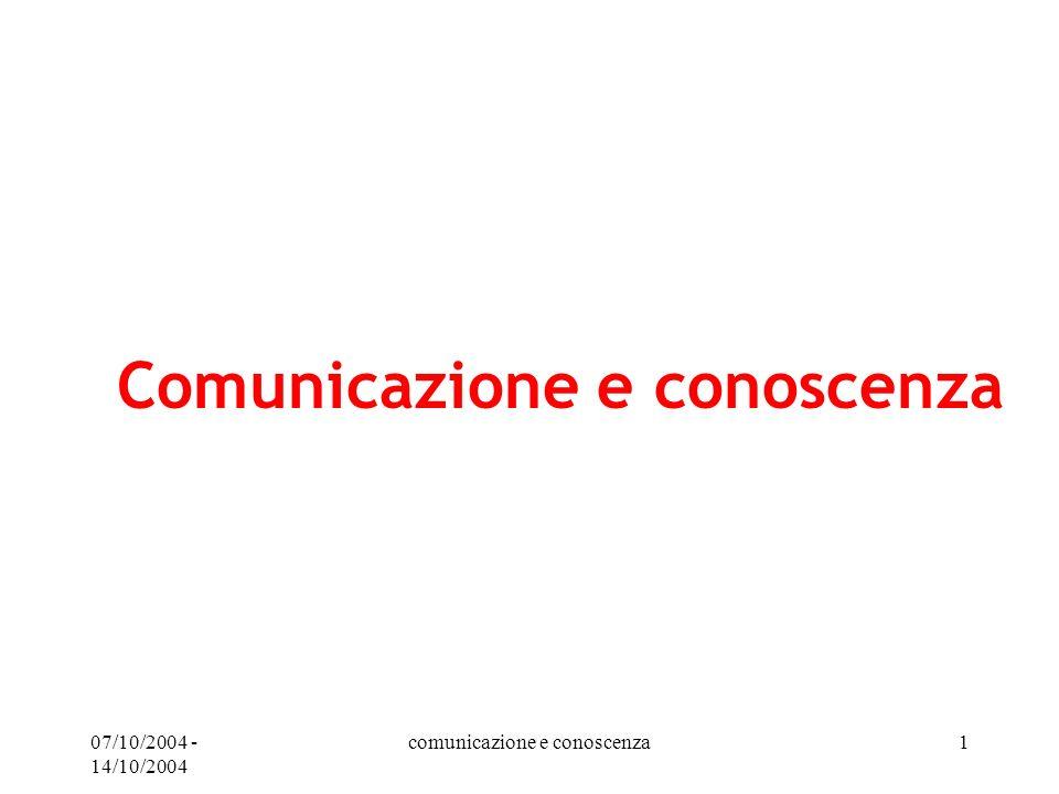 07/10/2004 - 14/10/2004 comunicazione e conoscenza1 Comunicazione e conoscenza