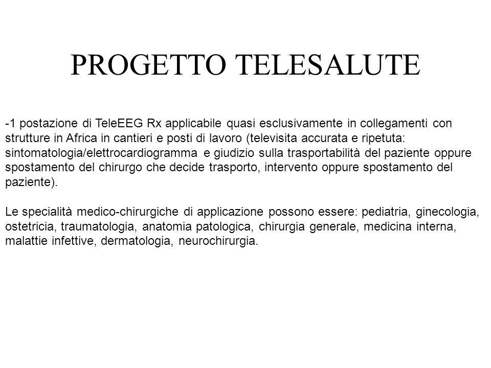 -1 postazione di TeleEEG Rx applicabile quasi esclusivamente in collegamenti con strutture in Africa in cantieri e posti di lavoro (televisita accurat