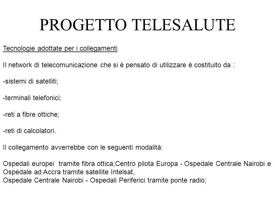 Tecnologie adottate per i collegamenti Il network di telecomunicazione che si è pensato di utilizzare è costituito da : -sistemi di satelliti; -termin