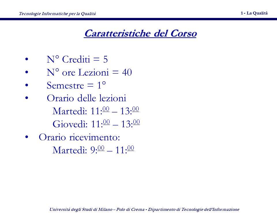 Tecnologie Informatiche per la Qualità 1 - La Qualità 12 Università degli Studi di Milano – Polo di Crema - Dipartimento di Tecnologie dellInformazione 12 Bibliografia consigliata - 1 D.C.
