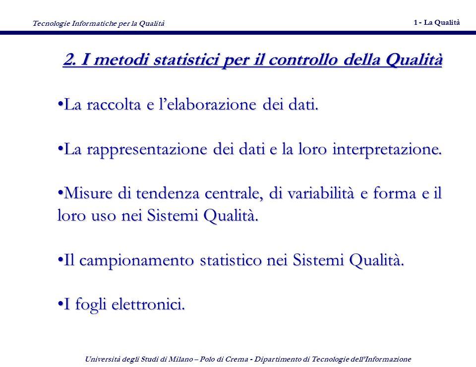 Tecnologie Informatiche per la Qualità 1 - La Qualità 4 Università degli Studi di Milano – Polo di Crema - Dipartimento di Tecnologie dellInformazione 4 2.