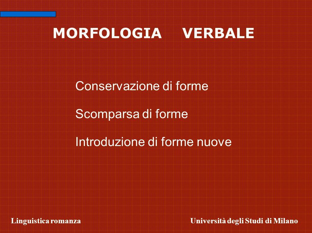 Linguistica romanzaUniversità degli Studi di Milano MORFOLOGIA VERBALE Conservazione di forme Scomparsa di forme Introduzione di forme nuove