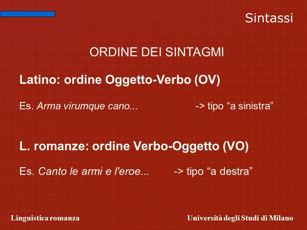 Linguistica romanzaUniversità degli Studi di Milano ORDINE DEI SINTAGMI Latino: ordine Oggetto-Verbo (OV) Es. Arma virumque cano...-> tipo a sinistra
