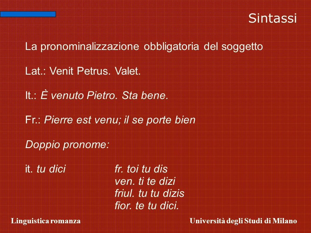 Linguistica romanzaUniversità degli Studi di Milano La pronominalizzazione obbligatoria del soggetto Lat.: Venit Petrus. Valet. It.: È venuto Pietro.