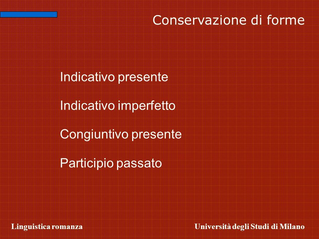 Linguistica romanzaUniversità degli Studi di Milano Conservazione di forme Indicativo presente Indicativo imperfetto Congiuntivo presente Participio p