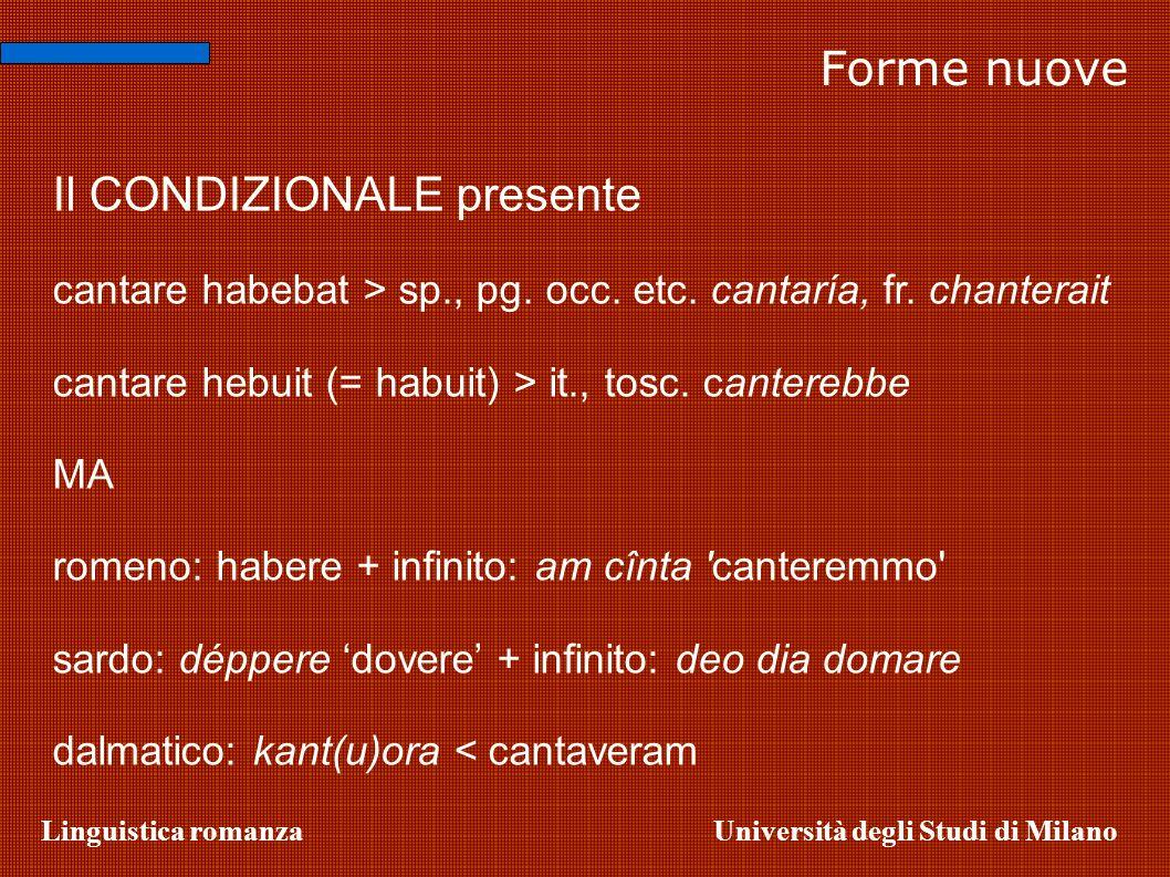 Linguistica romanzaUniversità degli Studi di Milano Forme nuove Il CONDIZIONALE presente cantare habebat > sp., pg. occ. etc. cantaría, fr. chanterait