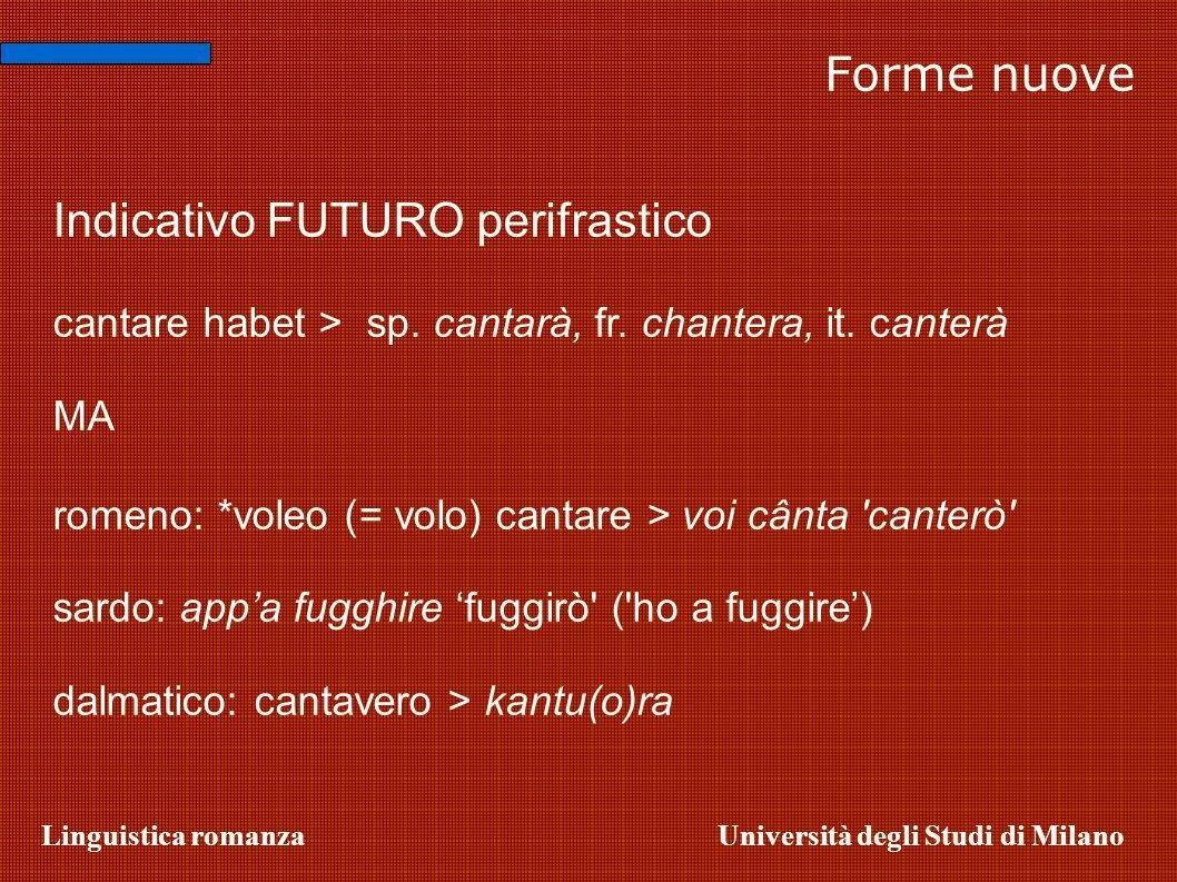 Linguistica romanzaUniversità degli Studi di Milano Forme nuove Indicativo FUTURO perifrastico cantare habet > sp. cantarà, fr. chantera, it. canterà