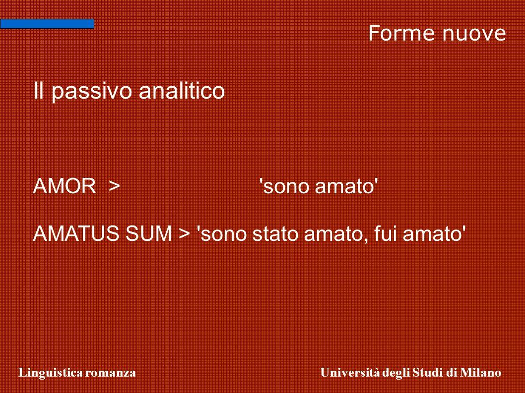 Linguistica romanzaUniversità degli Studi di Milano Forme nuove Il passivo analitico AMOR> 'sono amato' AMATUS SUM > 'sono stato amato, fui amato'