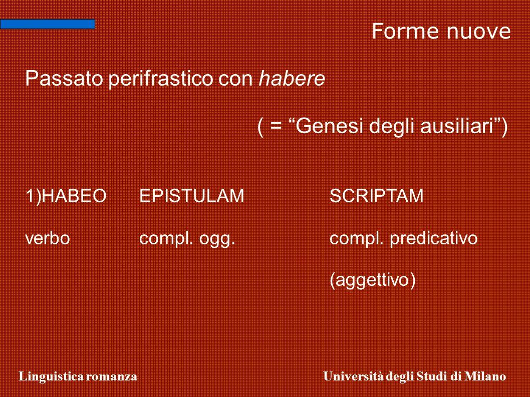 Linguistica romanzaUniversità degli Studi di Milano Forme nuove Passato perifrastico con habere ( = Genesi degli ausiliari) 1)HABEO EPISTULAM SCRIPTAM