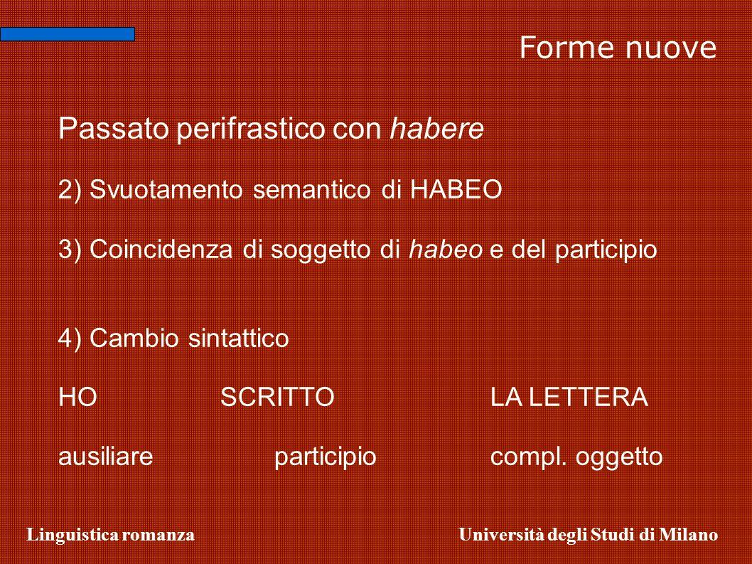 Linguistica romanzaUniversità degli Studi di Milano Passato perifrastico con habere 2) Svuotamento semantico di HABEO 3) Coincidenza di soggetto di ha